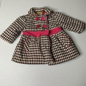 Penelope Mack Brown Houndstooth Button Coat 12M